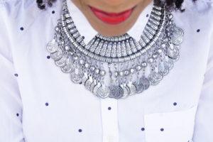 Tatiana wearing a silver necklace